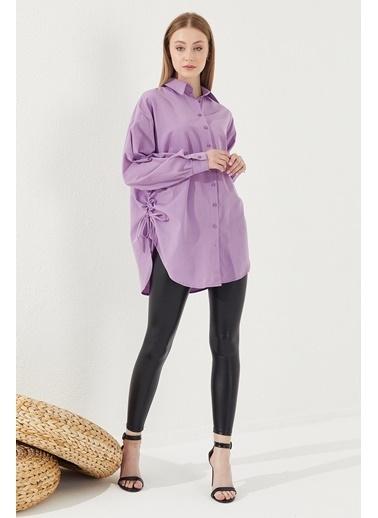 Reyon REYON Kadın Yanları Büzgülü Oversize Gömlek Lila Lila